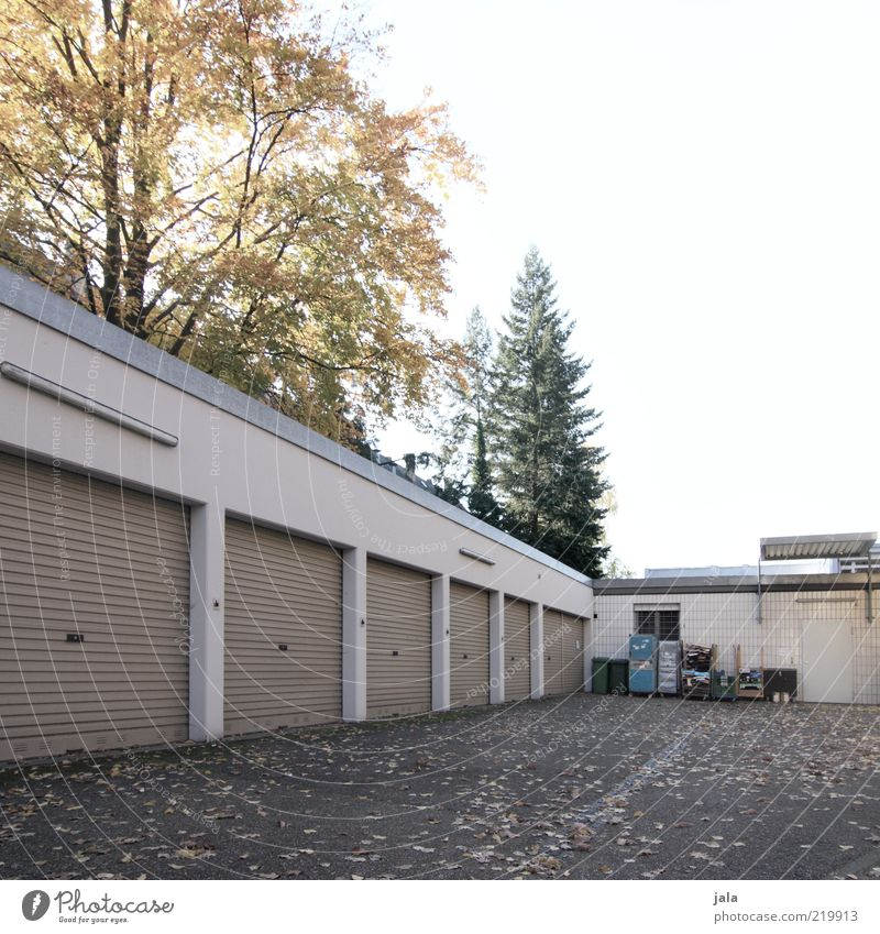 hinterhof Himmel Baum Blatt Gebäude geschlossen leer Platz trist Müll Bauwerk Garage Hof Müllbehälter Garagentor Rolltor