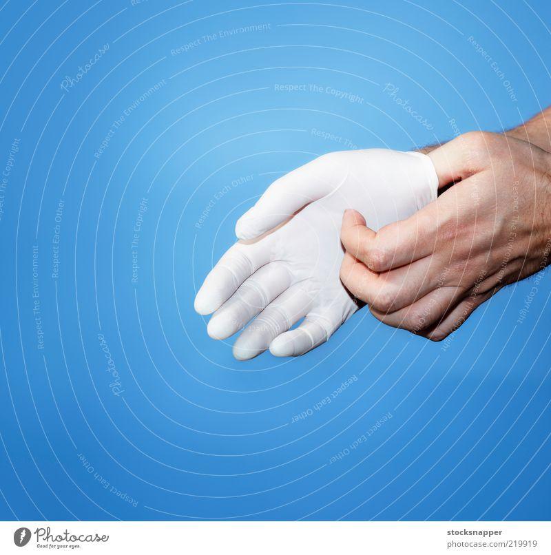 Handschuh medizinisch Schutz schützend abwehrend weiß Sauberkeit Gesundheitswesen mit Handschuhen strecken Gummi Latex Arzt Hygiene Hände
