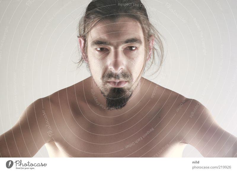unrasiert Mensch maskulin Junger Mann Jugendliche Kopf Gesicht Brust 1 18-30 Jahre Erwachsene 30-45 Jahre brünett langhaarig Zopf Bart Dreitagebart ästhetisch