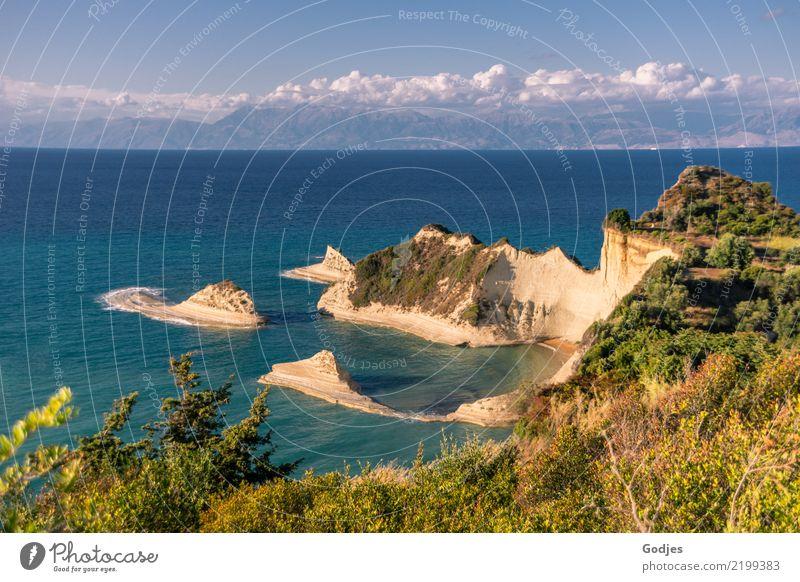 Akra Drastis Himmel Natur Ferien & Urlaub & Reisen Pflanze blau Sommer grün Wasser Baum Landschaft Meer Wolken Wärme gelb Wiese Küste