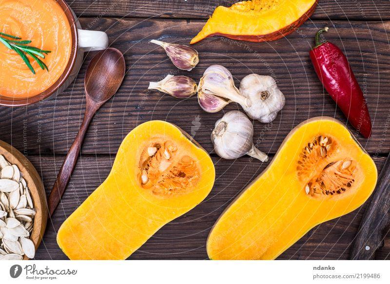 frischer Kürbis halbiert Natur Essen gelb Herbst Holz Gesundheitswesen braun orange Dekoration & Verzierung Tisch Gemüse Jahreszeiten Ernte Bioprodukte