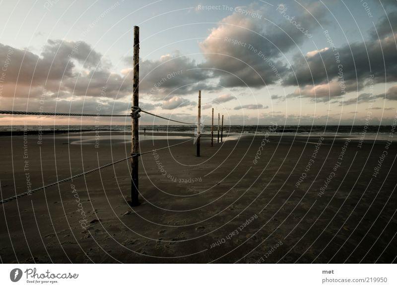 Watt Natur Himmel Meer blau Sommer Ferien & Urlaub & Reisen Wolken Ferne dunkel Sand Landschaft Stimmung braun Küste Umwelt Seil