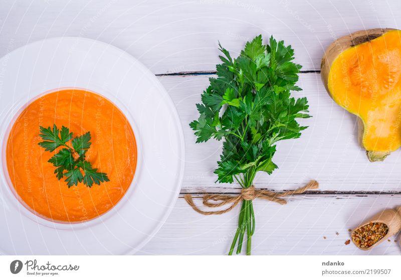 Kürbiscremesuppe Natur grün weiß Essen gelb Herbst Holz Gesundheitswesen oben frisch Tisch Gemüse Jahreszeiten Ernte Bioprodukte Tradition