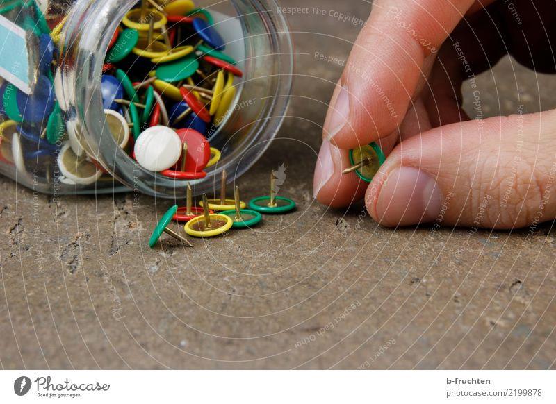Pinnnadel Arbeit & Erwerbstätigkeit Büroarbeit Mann Erwachsene Finger 30-45 Jahre berühren Bewegung festhalten Spitze stachelig mehrfarbig Reißzwecken Nagel