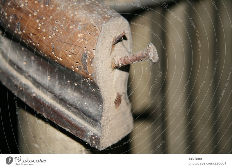 Aufpassen beim Geländerrutschen ;-) Holz braun Vergänglichkeit Verfall Rost Geländer Treppengeländer Nagel Schraube Altbau Spinngewebe zerfressen