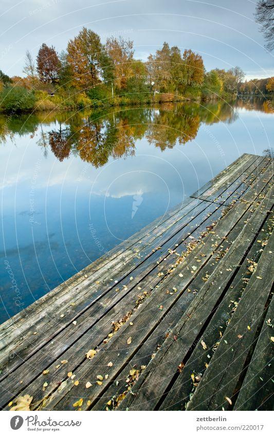 Kanal Natur Wasser ruhig Einsamkeit Ferne Herbst Freiheit Holz Park Landschaft Romantik Freizeit & Hobby Sehnsucht Idylle Steg Anlegestelle