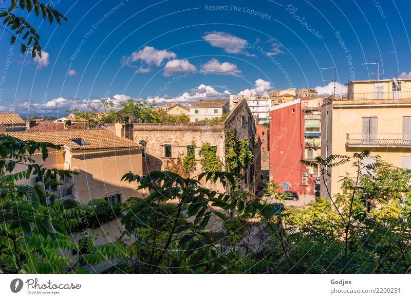 Stadtansichten Kerkira, Korfu Himmel Wolken Gras Sträucher Efeu Kérkira Hauptstadt Altstadt Haus Fassade Blick Wachstum authentisch blau braun gelb grau grün