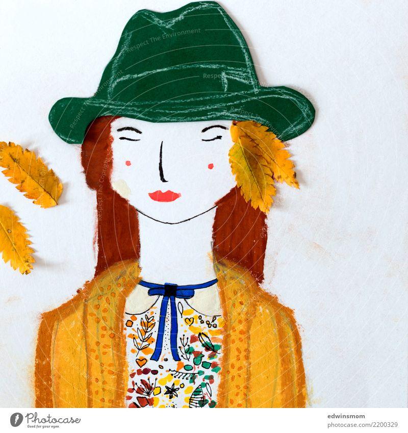 Autumn colors Mensch schön weiß Erholung Blatt Wärme gelb Herbst natürlich feminin Freizeit & Hobby Zufriedenheit träumen Kreativität Idee Warmherzigkeit