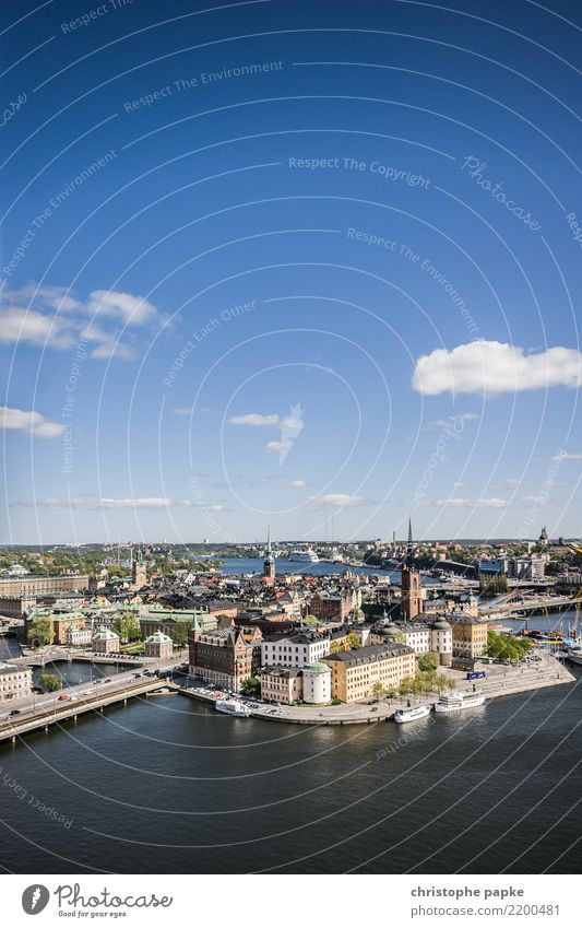 Gamla Stan / Stockholm Ferien & Urlaub & Reisen Ausflug Städtereise Sommer Himmel Wolken Schönes Wetter Schweden Stadt Hauptstadt Stadtzentrum Altstadt Skyline