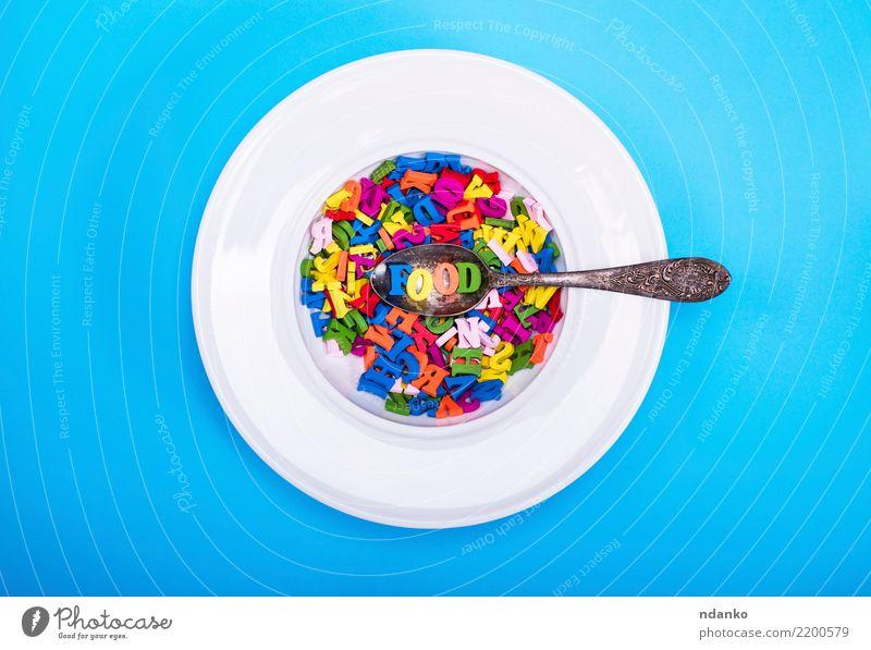 mehrfarbige Buchstaben des englischen Alphabets Ernährung Teller Löffel Design Dekoration & Verzierung Holz Denken Essen oben blau gelb grün rosa rot weiß Farbe