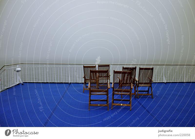 Reise Natur Meer blau Einsamkeit Ferne Stimmung Nebel leer Aussicht Stuhl Klima außergewöhnlich Schifffahrt Geländer 6 Fähre