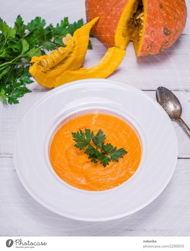 Sahne-Kürbissuppe Natur weiß Speise Essen gelb Herbst Holz Gesundheitswesen oben Dekoration & Verzierung frisch Tisch Kräuter & Gewürze Gemüse Jahreszeiten