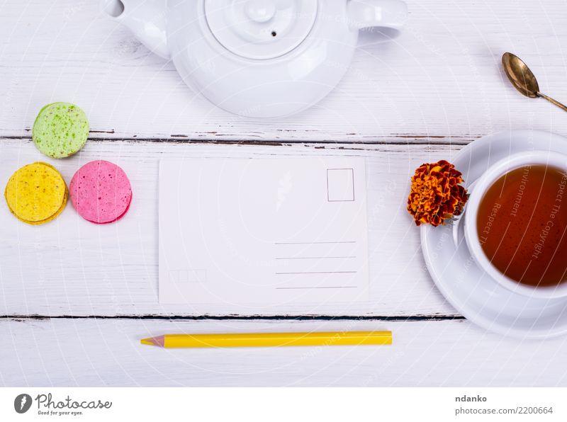 leere Papierpostkarte Kuchen Frühstück Getränk Heißgetränk Tee Tasse Becher Natur Blume Holz frisch heiß natürlich oben weiß Tradition Speise liquide Aussicht