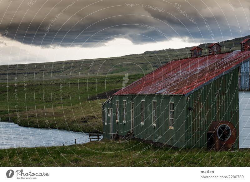 in Deckung Natur Landschaft Pflanze Himmel Wolken Frühling Schönes Wetter Gras Hügel Berge u. Gebirge Küste Fjord Menschenleer Haus Fenster blau grau grün rot