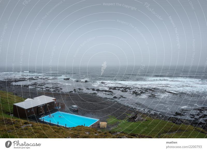 Strandbad Natur Landschaft Himmel Wolken Horizont Frühling schlechtes Wetter Wind Gras Wellen Küste Bucht Meer Schwimmen & Baden dunkel exotisch blau braun grau