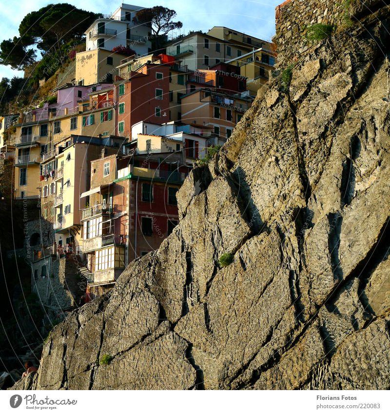 Häuser im Fels exotisch Ferien & Urlaub & Reisen Tourismus Sommer Sommerurlaub Cinque Terre Italien Italienisch Europa Dorf Fischerdorf Haus alt natürlich