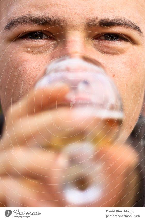 Bierkonsument Getränk trinken Erfrischungsgetränk Alkohol Glas Mensch Junger Mann Jugendliche Erwachsene Kopf Gesicht Auge Lippen Hand Finger 1 18-30 Jahre