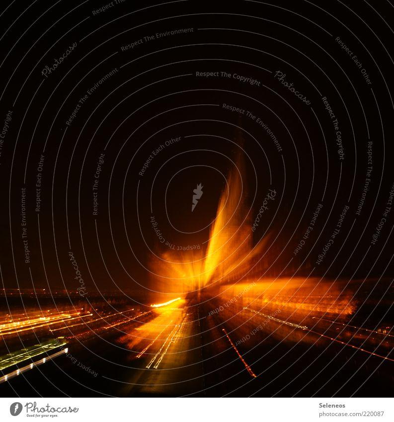 Zoom zoom Erfurt Skyline Linie leuchten Langzeitbelichtung Lichtpunkt Lichterkette Farbfoto Außenaufnahme Experiment Menschenleer Textfreiraum oben Nacht