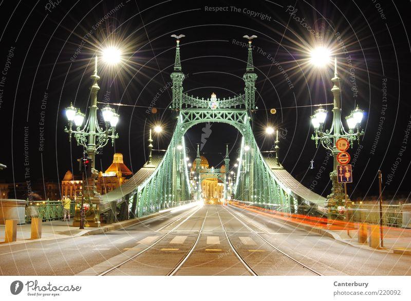 Freiheitsbrücke weiß grün Ferien & Urlaub & Reisen schwarz Straße Stil Beleuchtung Kunst Architektur hoch Brücke ästhetisch Dekoration & Verzierung Kultur leuchten