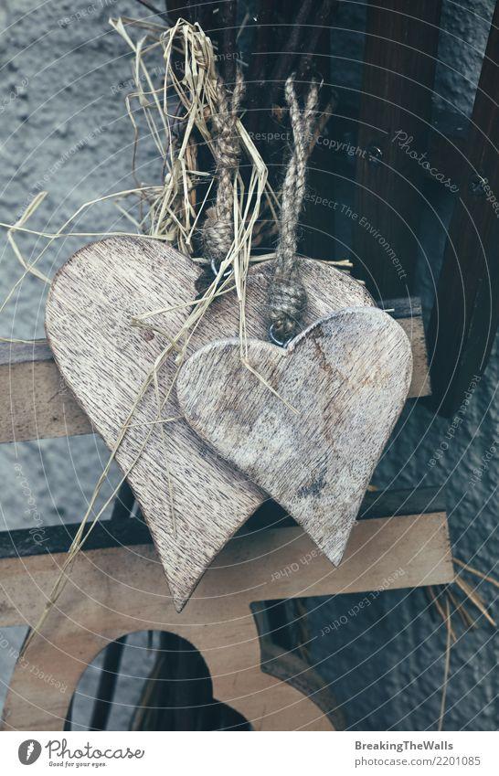 Alte rustikale hölzerne Herzen der Weinlese schließen oben alt schön dunkel Liebe Innenarchitektur natürlich Holz Feste & Feiern grau Design Freizeit & Hobby