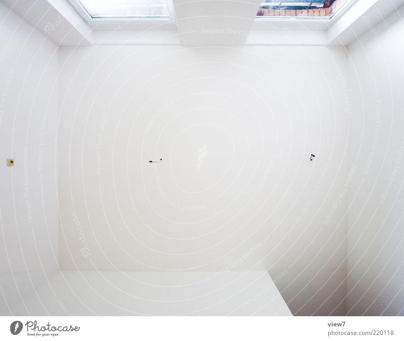 Raum schön weiß Wand oben Fenster Mauer Linie hell Raum Design frisch Perspektive ästhetisch neu einfach rein