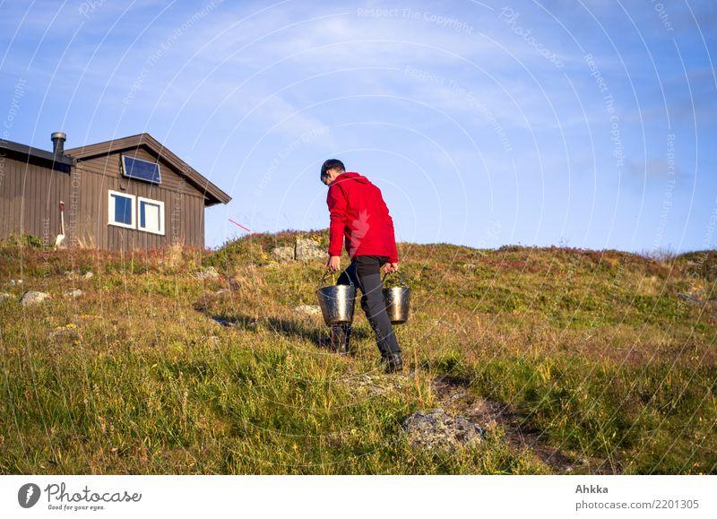 Junger Mann trägt Wassereimer zu einer Hütte, Norwegen Wohlgefühl Jugendliche Natur Himmel Schönes Wetter Hügel Ressource kaufen tragen einfach Verlässlichkeit