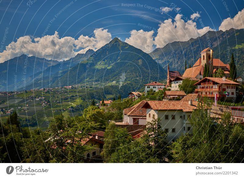 Schenna Südtirol Himmel Natur Ferien & Urlaub & Reisen Sommer Landschaft Baum Erholung Haus Berge u. Gebirge Leben Umwelt Tourismus Ausflug Zufriedenheit