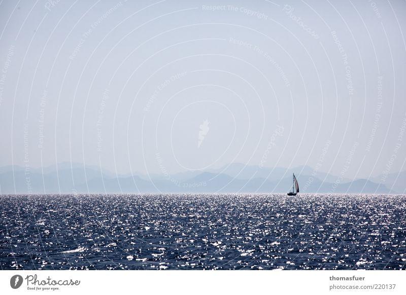 letzte Illusion blau Sonne Ferien & Urlaub & Reisen Meer Sommer Ferne Berge u. Gebirge Freiheit träumen Horizont Wellen Freizeit & Hobby Nebel Abenteuer Insel