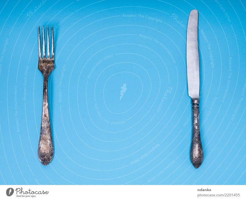 alt blau Essen Metall retro Tisch Sauberkeit Küche Messer Mahlzeit silber Besteck Kulisse Gabel Antiquität