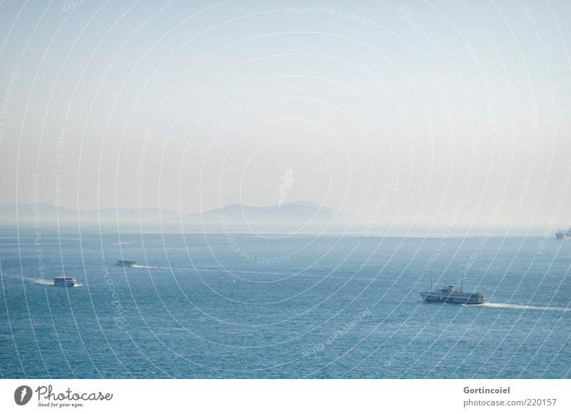 Marmarameer Wasser Himmel Meer blau Ferne Wasserfahrzeug Nebel Horizont Insel Schifffahrt Schönes Wetter Türkei Fähre Istanbul schlechtes Wetter