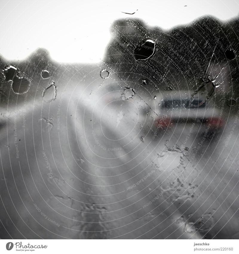 Pendlermelancholie Straße dunkel Herbst grau PKW Regen Straßenverkehr Wetter nass Wassertropfen Verkehr Geschwindigkeit Perspektive fahren Autobahn Mobilität