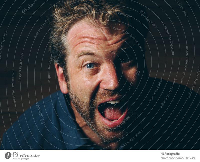 Gefühl Haare & Frisuren Haut Gesicht Mensch maskulin Körper Nase 1 30-45 Jahre Erwachsene Hemd blond Dreitagebart schreien authentisch Gefühle Stimmung Euphorie
