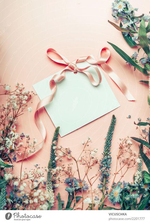 Leere Grußkarte mit Schleife und Blumen auf pastell Hintergrund elegant Stil Dekoration & Verzierung Feste & Feiern Valentinstag Muttertag Hochzeit Geburtstag