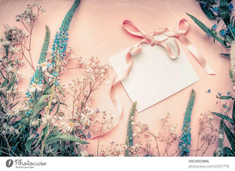 Leere Grußkarte mit Blumen und Schleife elegant Stil Leben Sommer Dekoration & Verzierung Feste & Feiern Muttertag Hochzeit Geburtstag Pflanze Blatt Blüte