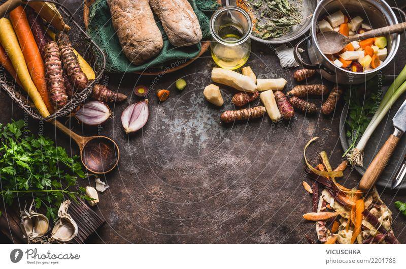 Kochen mit Wurzelgemüse Lebensmittel Gemüse Suppe Eintopf Kräuter & Gewürze Ernährung Mittagessen Abendessen Bioprodukte Vegetarische Ernährung Diät Geschirr