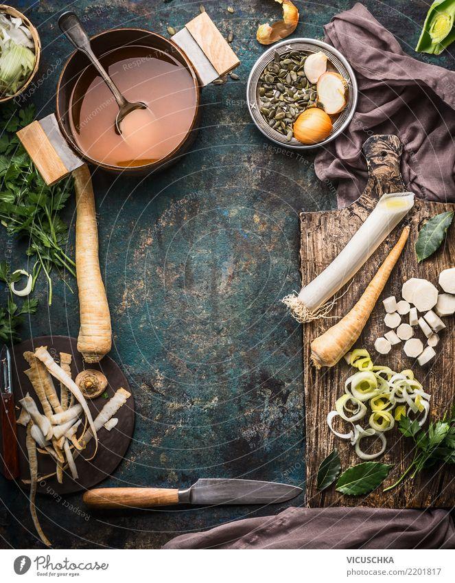 Gemüsesuppe oder Gemüsefond kochen Lebensmittel Suppe Eintopf Kräuter & Gewürze Ernährung Mittagessen Abendessen Bioprodukte Vegetarische Ernährung Diät