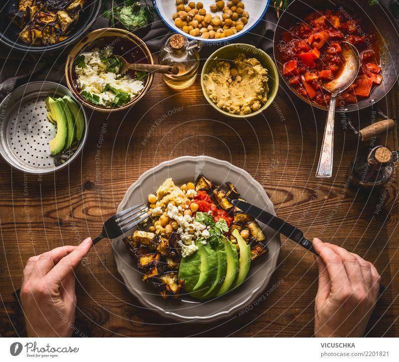 Gesund Essen Lebensmittel Gemüse Salat Salatbeilage Kräuter & Gewürze Öl Ernährung Mittagessen Abendessen Bioprodukte Vegetarische Ernährung Diät Geschirr