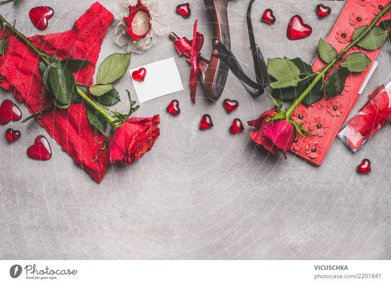 Rote weibliche Accessoires für Valentinstag Stil Design Schminke Feste & Feiern Blume Rose Mode Bekleidung Schmuck Schuhe Dekoration & Verzierung Blumenstrauß