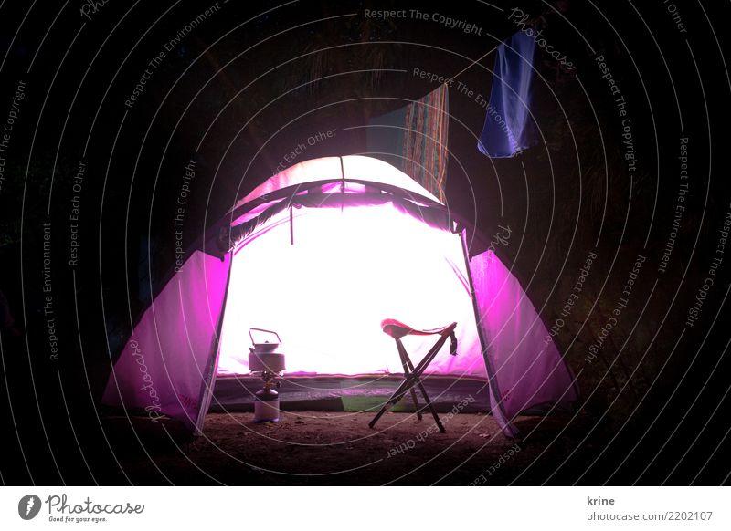 Leuchtzelt Abenteuer Freiheit Camping Natur Sommer leuchten Fröhlichkeit hell violett Glück Vorfreude Begeisterung Optimismus Ferien & Urlaub & Reisen Zeit Zelt