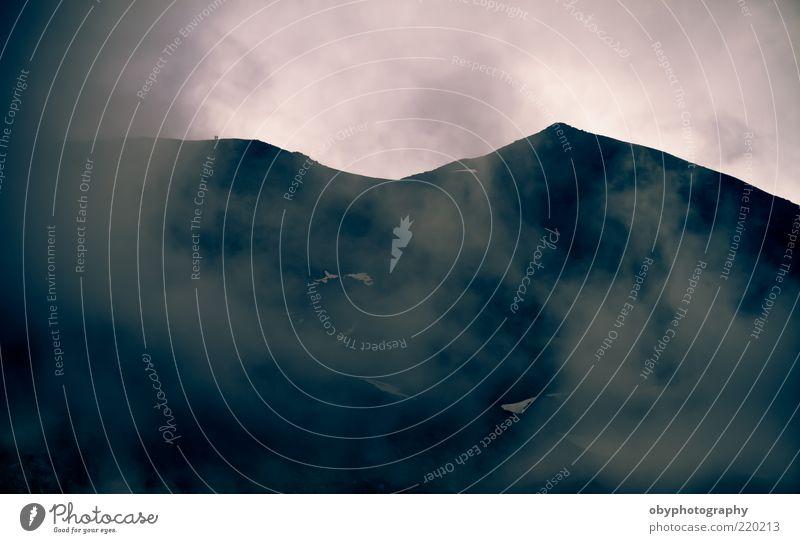 Ferien & Urlaub & Reisen schwarz Wolken Berge u. Gebirge träumen Traurigkeit Landschaft rosa Felsen Wachstum Alpen Rauch Gemälde atmen Abenddämmerung