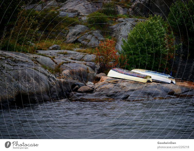 Zweisam Umwelt Natur Landschaft Urelemente Wasser Klima Wetter Küste liegen alt authentisch Wasserfahrzeug Farbfoto Außenaufnahme Menschenleer Dämmerung Licht