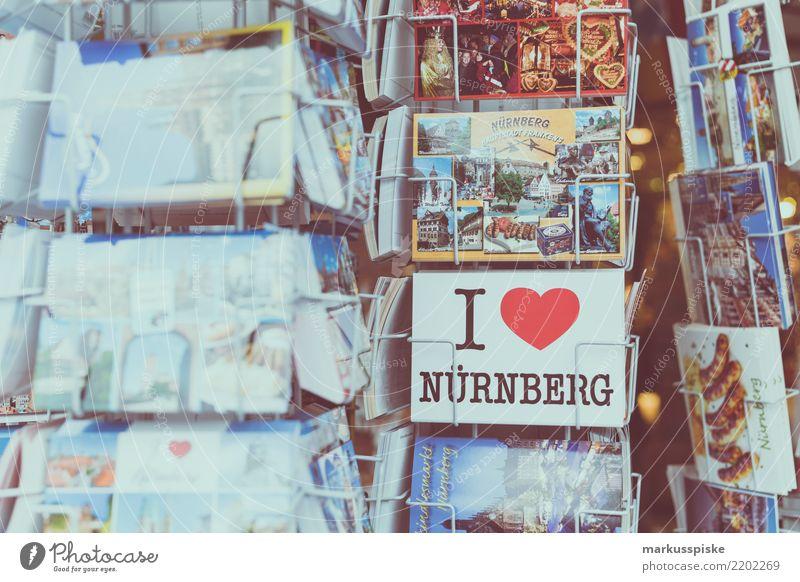 I LOVE Nürnberg Lifestyle kaufen Reichtum Freude Ferien & Urlaub & Reisen Tourismus Ausflug Ferne Sightseeing Städtereise Souvenir Souvenirladen Postkarte