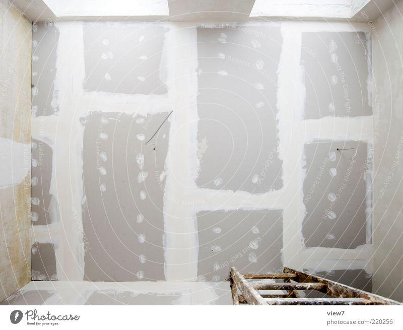 Trockenbau Decke Wand Mauer Linie Raum Hintergrundbild hoch Perspektive authentisch Baustelle rein Innenarchitektur Leiter Renovieren Sanieren Textfreiraum