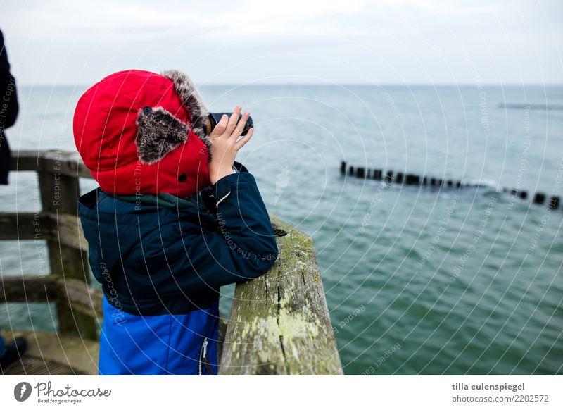 Little explorer Freizeit & Hobby Ferien & Urlaub & Reisen Tourismus Ausflug Ferne Sightseeing Expedition Meer Winter maskulin Kind Junge Kindheit Leben 1 Mensch