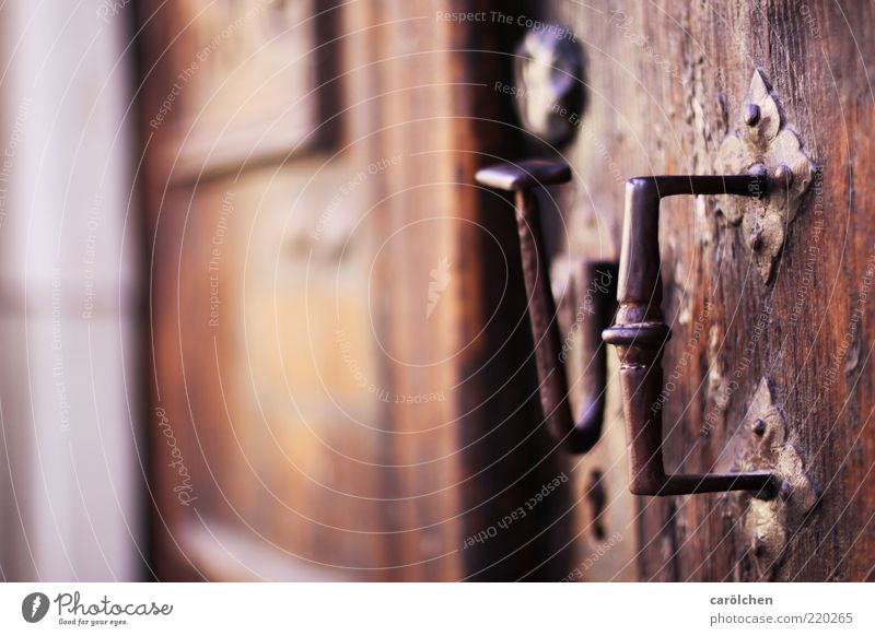 Die Tür zur Ehe... Holz Metall Stahl braun Griff alt Altbau verwittert Farbfoto mehrfarbig Detailaufnahme Starke Tiefenschärfe Menschenleer Textfreiraum links