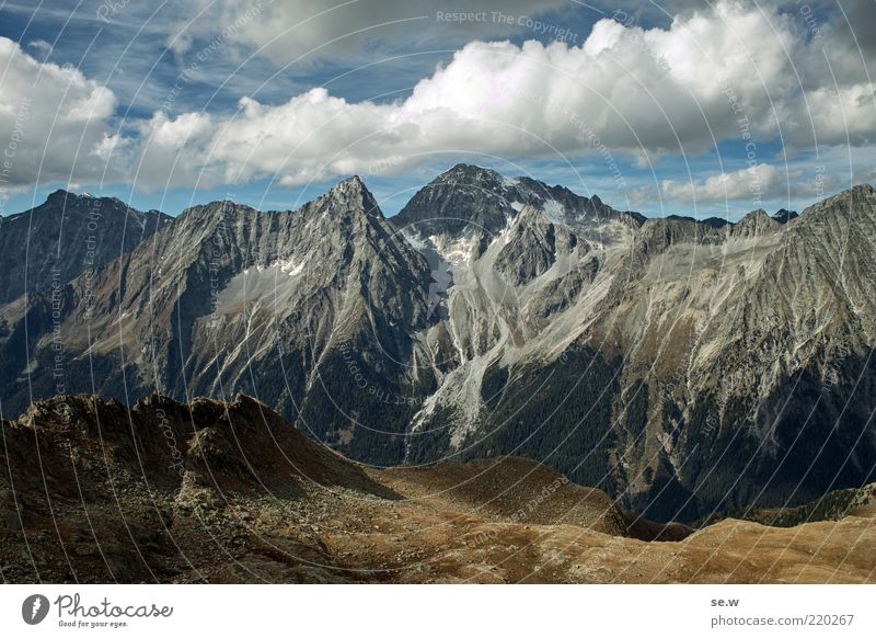 M A S S I V ........ | Antholz [19] blau Sommer ruhig Wolken Einsamkeit Ferne Herbst Berge u. Gebirge braun Umwelt Aussicht Alpen Sehnsucht Idylle Gipfel