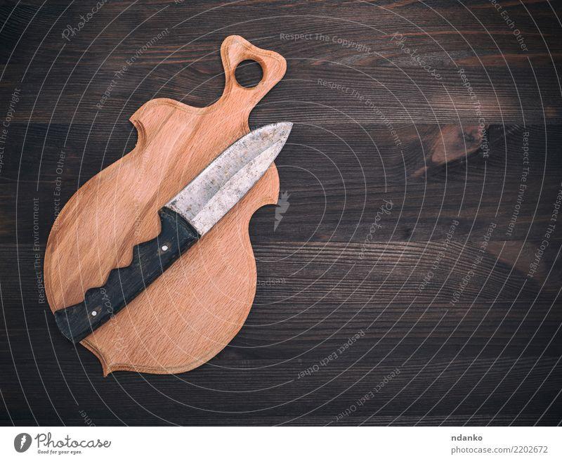 alt natürlich Holz braun retro Tisch Küche Messer Werkzeug Top Konsistenz rustikal Grunge