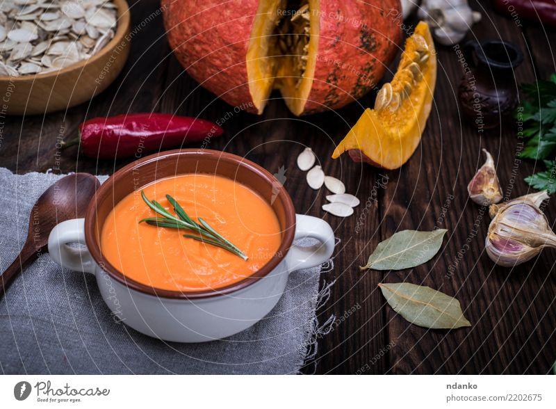 Kürbissuppe Natur rot Speise Essen gelb Herbst Holz Dekoration & Verzierung frisch Tisch Kräuter & Gewürze Gemüse Jahreszeiten Ernte heiß Bioprodukte