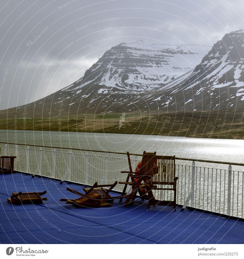 Island Umwelt Natur Landschaft Wasser Himmel Wolken Klima schlechtes Wetter Hügel Felsen Berge u. Gebirge Schneebedeckte Gipfel Küste Fjord Meer Schifffahrt