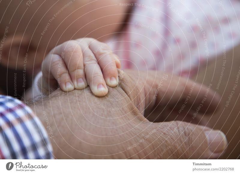 Junge Hand auf alter Hand. Baby Männlicher Senior Mann Finger 2 Mensch berühren Gefühle Lebensfreude achtsam festhalten Haut Hautfalten Bekleidung Zuneigung